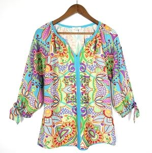 Jade By Melody Tam Colorful Floral Blouse